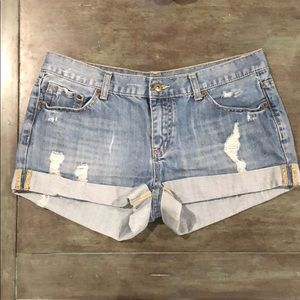 Distressed Denim Cuffed Shorts.